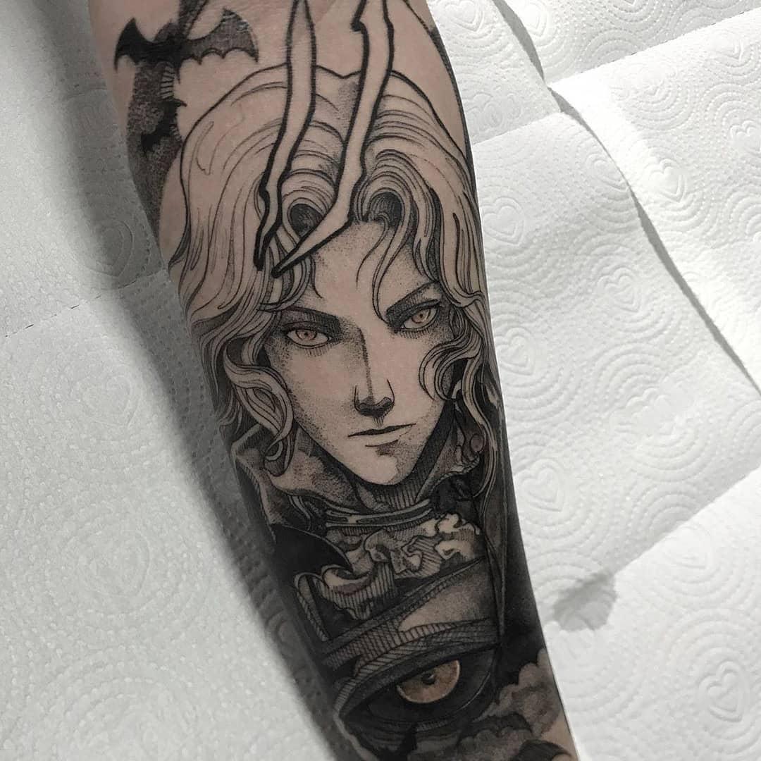 Manga style Alucard tattoo.