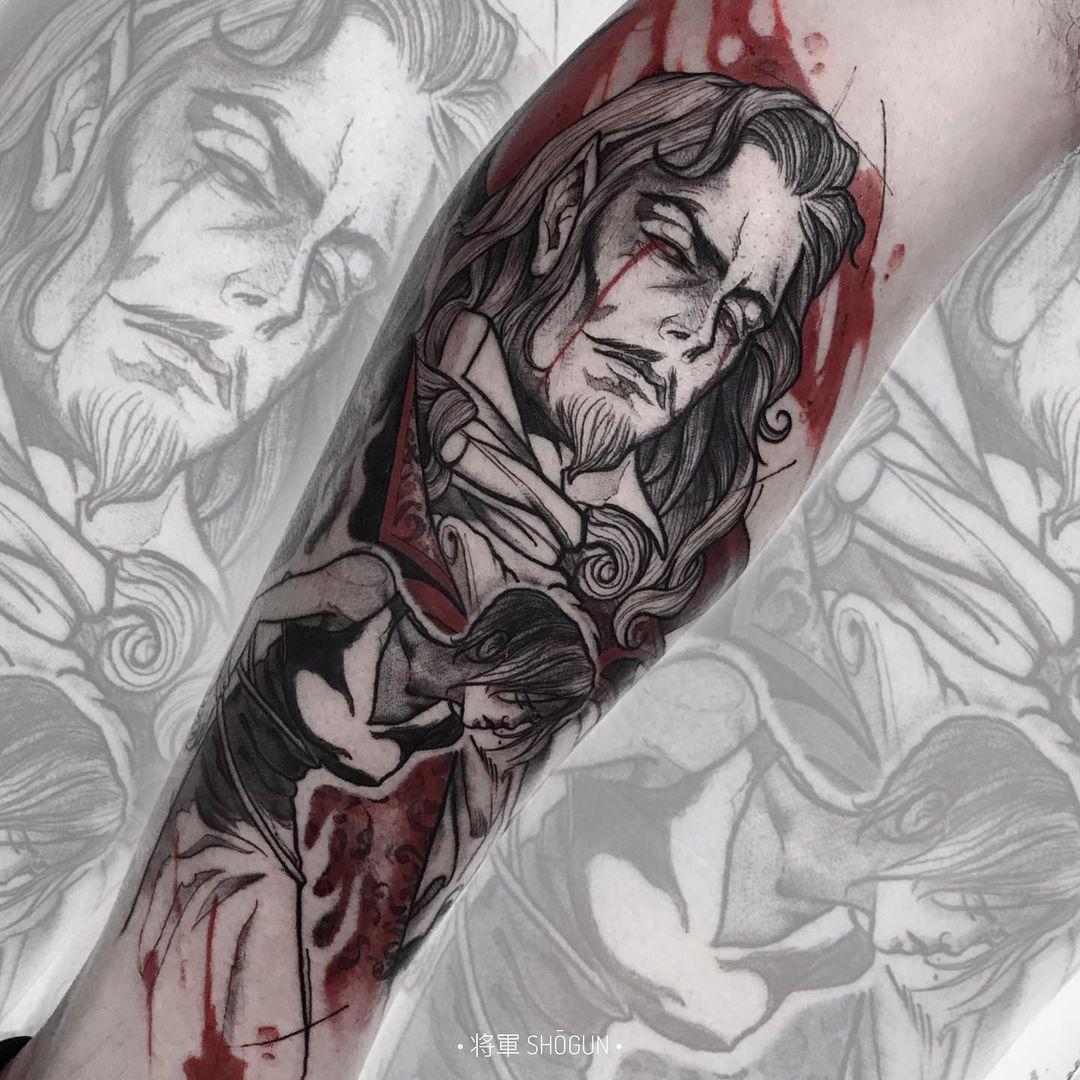 Dracula from Castlevania tattoo sleeve