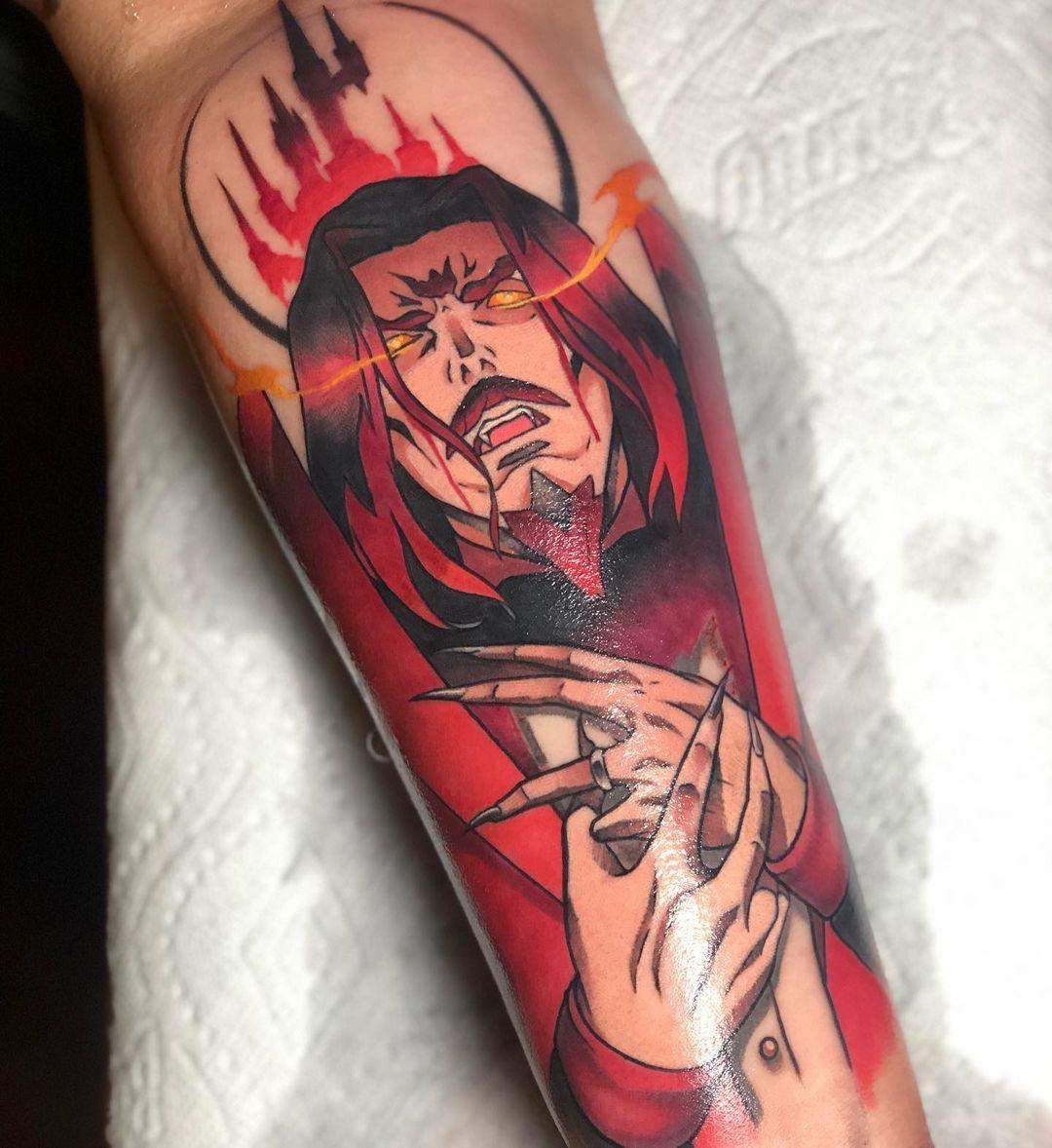Red Dracula tattoo.