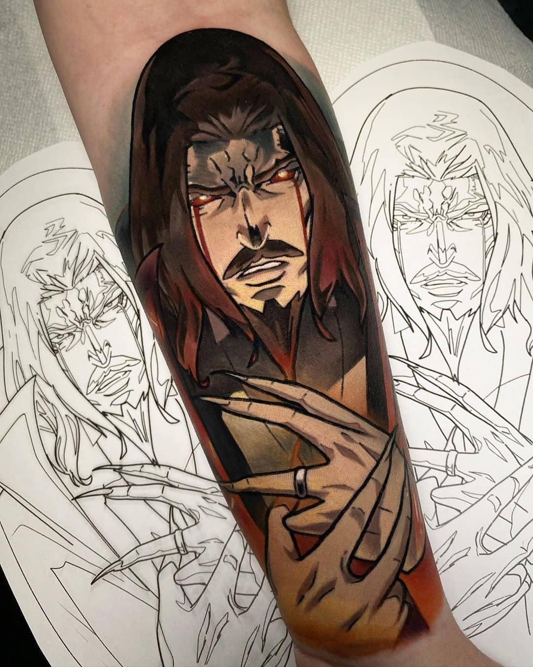 Coloured Dracula tattoo.