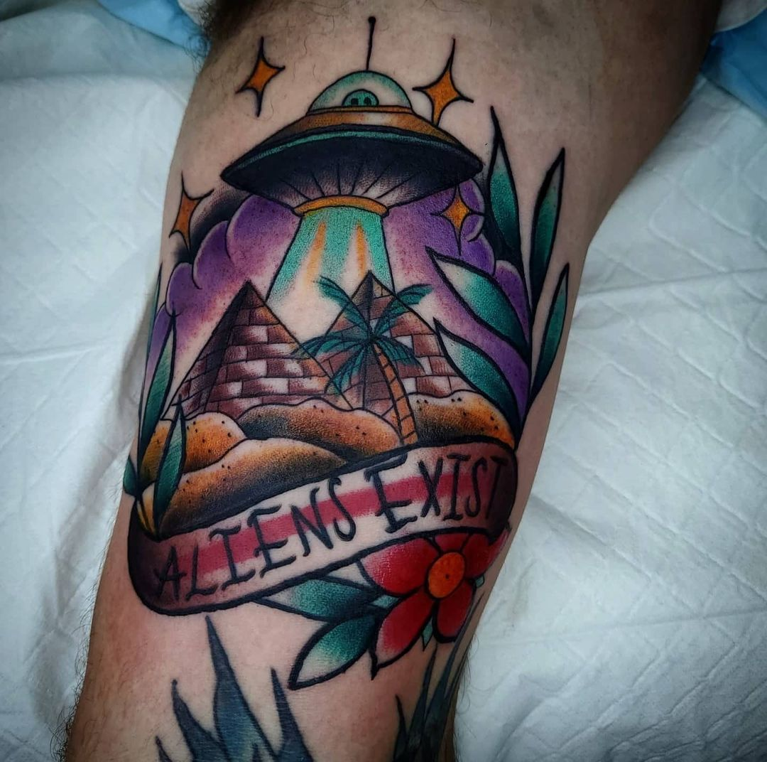 Alien Space Ship Tattoo