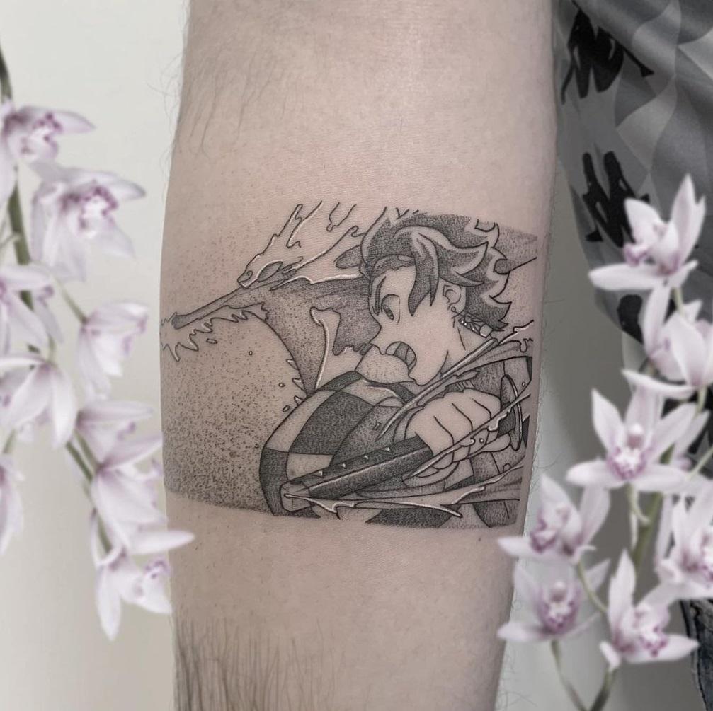Black And Grey Tanjiro Tattoo