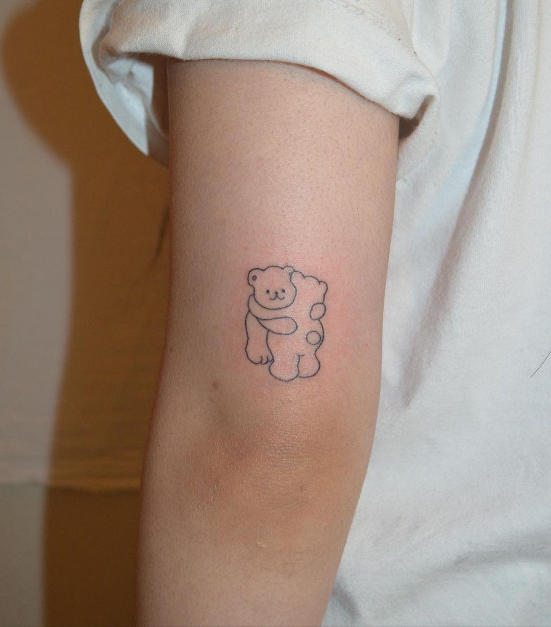 Cute Handpoke Bear Tattoo