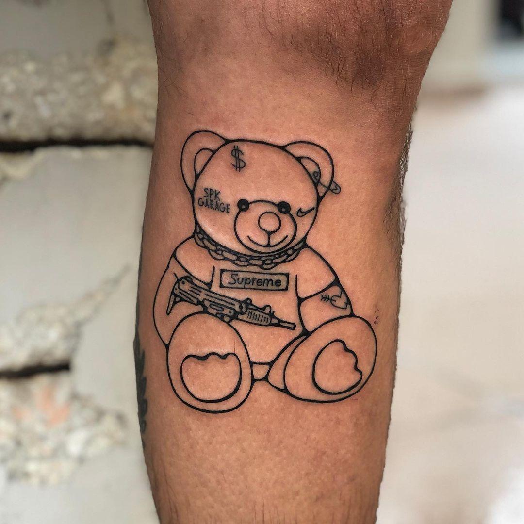 Gangster Teddy Bear Tattoo