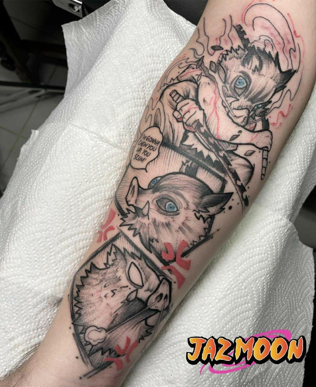 Limited Color Inosuke Manga-Style Panel Tattoo